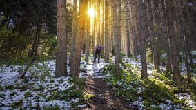 A tourist in a mountain forest. Stock Photo