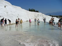 Tourist travertine terrace Pamukkale Royalty Free Stock Images