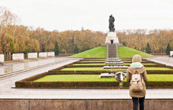 Tourist at Treptower Park Royalty Free Stock Photography