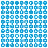 100 tourist trip icons set blue. 100 tourist trip icons set in blue hexagon isolated vector illustration Royalty Free Stock Photo