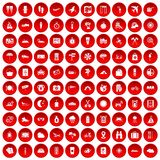 100 tourist trip icons set red. 100 tourist trip icons set in red circle isolated on white vectr illustration stock illustration
