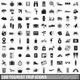 100 tourist trip icons set, simple style Stock Images