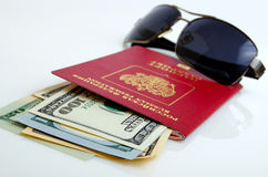 Tourist trips and business trips abroad of Russian citizens. Royalty Free Stock Photography