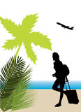 tourist with tropical background Stock Photos
