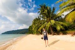 Tourist on Tioman island Malaysia. Tourist on tropical Tioman island in Malaysia. Beautiful seascape of south east asia Royalty Free Stock Photography