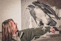 Tourist und ein Adler Stockbild