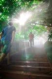 Tourist up the stairs at golden mountain. Bangkok, Thailand. Royalty Free Stock Photo