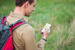 Tourist using navigation app Stock Images