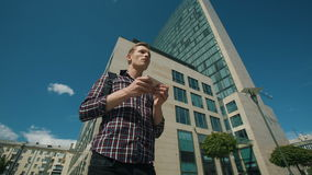 Tourist using navigation app on the mobile phone. stock video