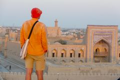 Tourist in Uzbekistan Royalty Free Stock Photography