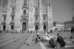 Tourist of various nationality in Milano Duomo square