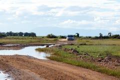 Tourist vehicle at Amboseli Royalty Free Stock Photos