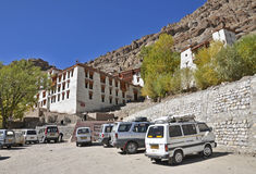 Tourist vehicle parked near Hemis monastery Royalty Free Stock Photo