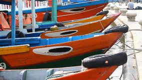 Tourist Vietnam city Hoi An. Traditional wooden boats stock video footage