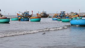 Tourist Vietnam. Fishing boats. Tourist Vietnam. Fishing village in Mui Ne Full HD stock footage