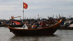 Tourist Vietnam. Fishing boats stock footage