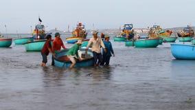 Tourist Vietnam .Traditional Fishing boats. Tourist Vietnam. Fishing village in Mui Ne Full HD stock footage