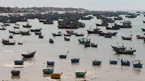 Tourist Vietnam. Fishing village in Mui Ne stock footage
