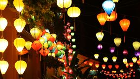 Tourist Vietnam, Hoi An and paper lanterns stock footage