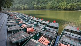 Traveling in Vietnam Tam Coc. Tourist Vietnam Tam Coc . Boating on beautiful places and caves stock video footage