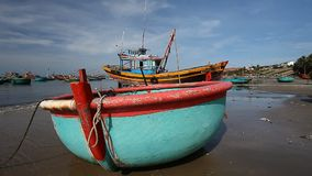Tourist Vietnam .Traditional Fishing boats stock video footage
