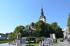 Tourist view of Old Town architecture in Tallinn, Estonia Royalty Free Stock Photos