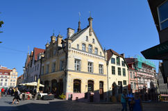 Tourist view of Old Town architecture in Tallinn, Estonia Stock Images