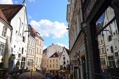 Tourist view of Old Town architecture in Tallinn, Estonia Stock Photo