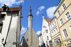 Tourist view of Old Town architecture in Tallinn, Estonia Stock Photography