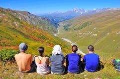 Tourist view, Svaneti Georgia. A group of tourists viewing the views from the Mestia Ushguli trek, Svaneti region, Georgia Royalty Free Stock Photo