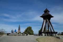Tourist view of Uppsala cathedral royalty free stock photography