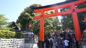 The tourist visit beautiful architecture Fushimi Inari Shrine temple stock footage