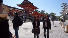The tourist visit beautiful architecture Fushimi Inari Shrine temple stock video