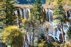 Tourist visit the Nuorilang Waterfall in Jiuzhaigou National Par Royalty Free Stock Images