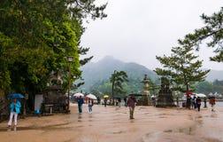 Tourist visit town of Itsukushima Stock Photos