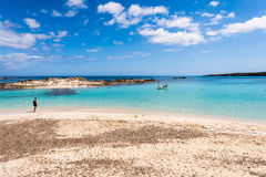 Tourist visiting Els Pujols beach in Formentera island Stock Image
