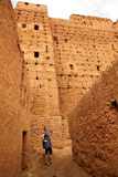 Tourist visiting kasbah royalty free stock photo