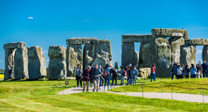 Tourist visiting Stonehenge stock photo
