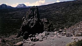 Tourist visiting Teide volcano stock footage