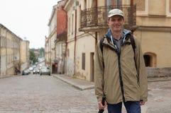 Tourist in Vyborg, Russia Stock Photo