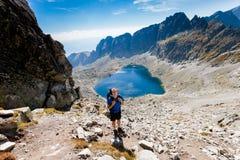 Tourist in Vysne Wahlenbergovo pleso Tatra Royalty Free Stock Image