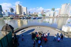 Tourist waching Manila pasig river view from Fort Santiago view deck, Intramuros, Manila, Philippines. Manila, Philippines - Feb 17, 2018 : Tourist waching Royalty Free Stock Image