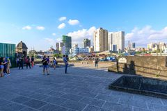 Tourist waching Manila pasig river view from Fort Santiago view deck, Intramuros, Manila, Philippines. Manila, Philippines - Feb 17, 2018 : Tourist waching Royalty Free Stock Photography