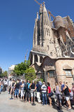 Tourist waits on entrance of Sagrada Familia Barcelona Spain Stock Images