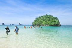 Tourist walk to small island at Krabi Thailand Royalty Free Stock Image