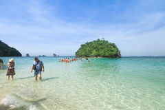 Tourist walk to small island at Krabi Thailand Stock Images