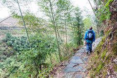Tourist walk at wet path on slope of green hill. Travel to China - tourist walk at wet path on slope of green hill near Dazhai village in area of Longsheng Rice Stock Photography