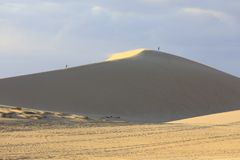 Tourist walk on yellow sand dunes in Mui Ne, Vietnam royalty free stock photo
