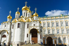 Tourist walkin in front of the cathedral in the main square of K. MOSCOW, RUSSIA - AUGUST 16, 2016 - Tourist walkin in front of the cathedral in the main square royalty free stock image