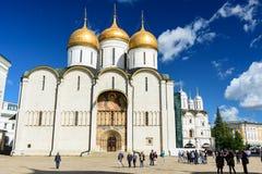 Tourist walkin in the main square of Kremlin in Moscow. MOSCOW, RUSSIA - AUGUST 16, 2016 - Tourist walkin in the main square of Kremlin in Moscow royalty free stock image
